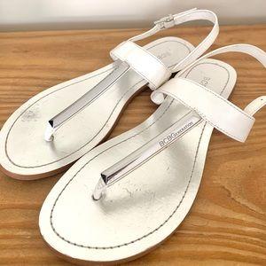 BCBGeneration White & Silver Metallic Sandals